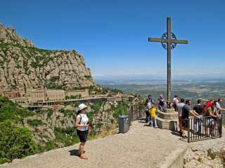 Montserrat. Observation deck with the cross of St. Michael