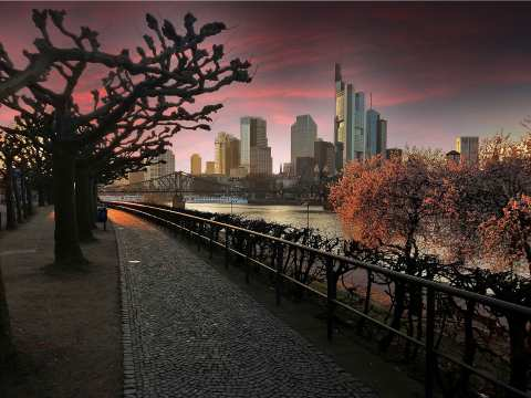 Germany. Frankfurt am Main in the evening