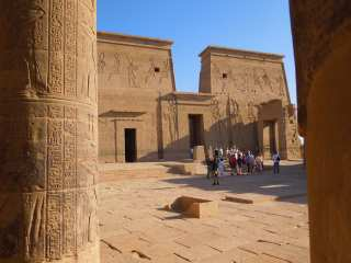 Tourists at the Temple of Isis in Thebes