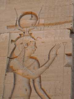 Images on the stone walls of the Temple of Isis
