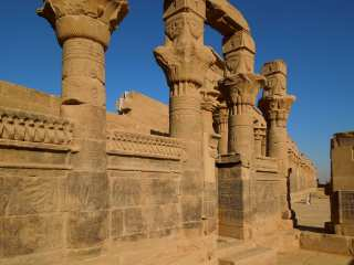 Columns adorn the territory of the temple of Isis