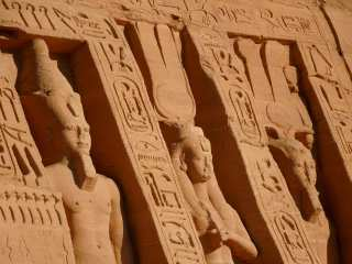 Sculptures at the Hathor Temple, Nefertari