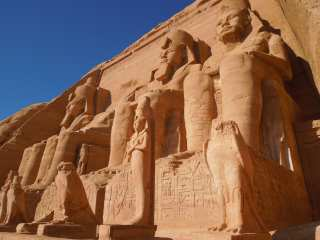 Abu Simbel. At the foot of the temple
