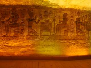 Abu Simbel. Painted walls inside