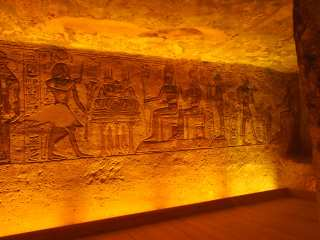 The painted walls of the temple of Abu Simbel