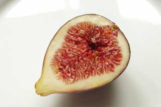 Half a fig on a light plate