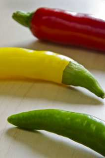 Three colors of hot pepper