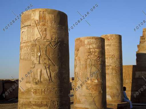 The painted columns of the Temple of Kom Ombo