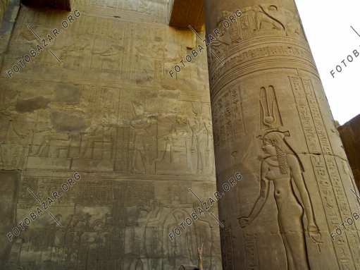 Columns with deities of the temple of Kom Ombo