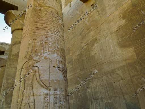 Images of the gods on the columns of the temple of Kom Ombo