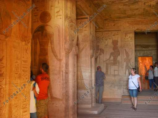Tourists in the temple of Hathor, Nefertari. Abu simbel