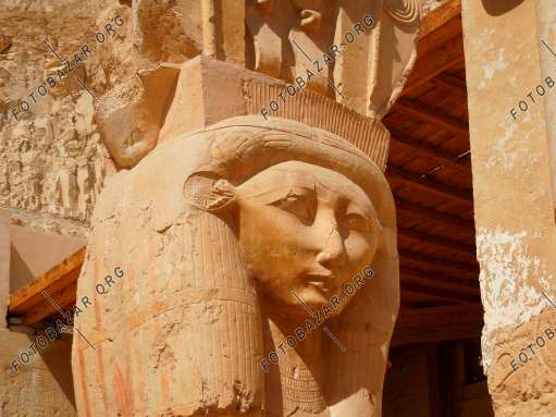 The column with the head of the pharaoh Hatshepsut